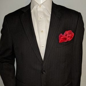 Pronto Black Pinstripe Suit Sep Jacket 44R Excelle